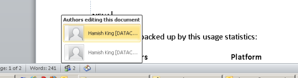 co-author bar in word 2010